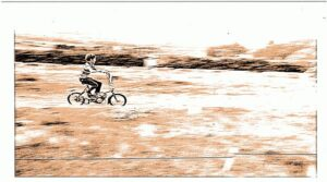 sepia coloured image of a child riding a bicycle down a slight slope